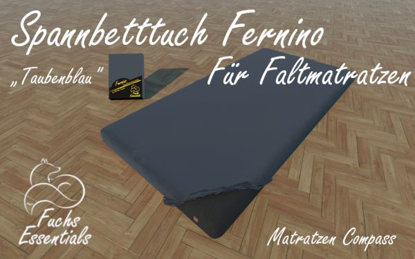 Spannlaken 110x190x8 Fernino taubenblau - besonders geeignet für Faltmatratzen