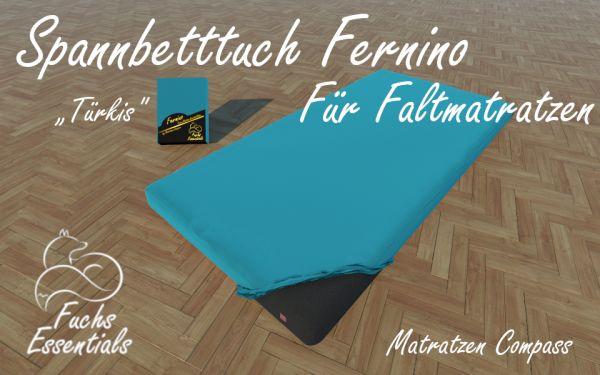 Spannlaken 100x180x8 Fernino türkis - insbesondere geeignet für Klappmatratzen