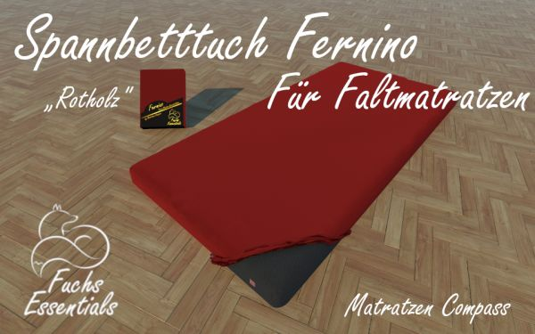 Bettlaken 100x200x6 Fernino rotholz - speziell für klappbare Matratzen