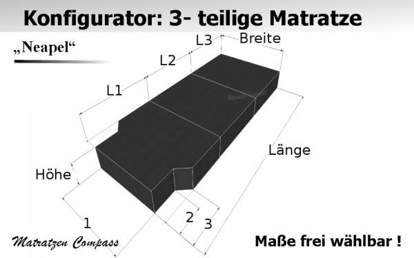 Neapel 10 für T5 / T6 usw. - 3-teilige Komfortschaum - Faltmatratze
