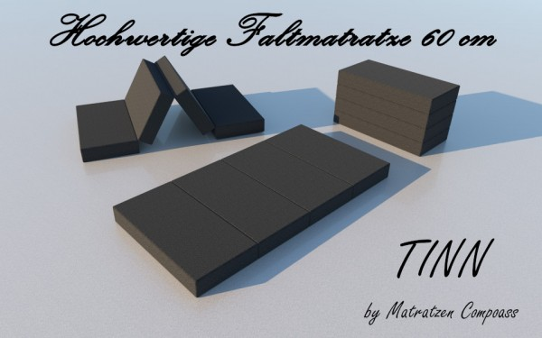 Faltmatratze 4 - teilig 60x190x11 cm grau Tinn