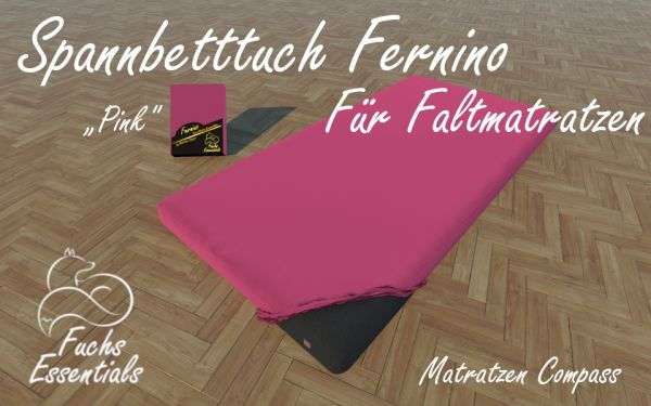 Bettlaken 100x190x14 Fernino pink - speziell entwickelt für faltbare Matratzen