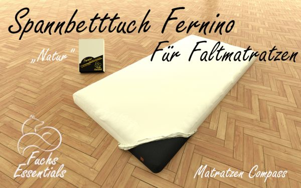 Spannlaken 100x180x8 Fernino natur - besonders geeignet für Faltmatratzen