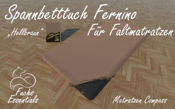Spannbetttuch 100x200x14 Fernino hellbraun - speziell entwickelt für faltbare Matratzen
