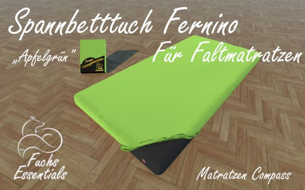Spannbetttuch 100x180x8 Fernino apfelgrün - sehr gut geeignet für faltbare Matratzen