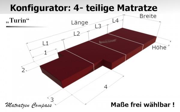 4 teilige hochwertige Klappmatratze nach Maß mit Kaltschaumkern Turin 13