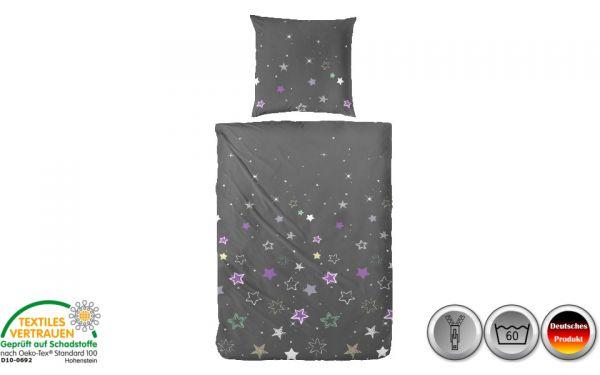 Edelflanell-Bettwäsche lila/grau/grün mit Sternen (086)