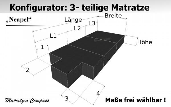 Faltbare Matratze nach Maß aus Komfortschaum 3 - teilig - Neapel 7