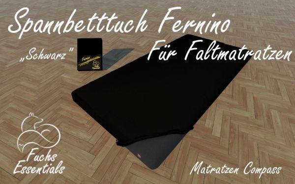 Bettlaken 110x200x14 Fernino schwarz - speziell für faltbare Matratzen