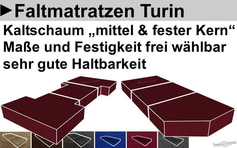 Faltbare Matratze Turin mit hochwertigem Kaltschaum in unterschiedlichen Härtegraden - Maß online eingeben und kaufen