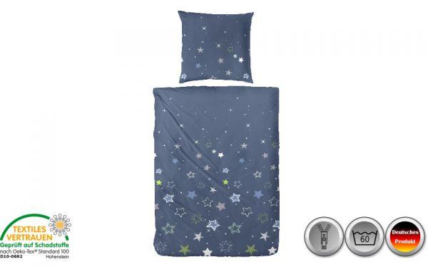 Edelflanell-Bettwäsche grün/blau/weiß mit Sternen (035)