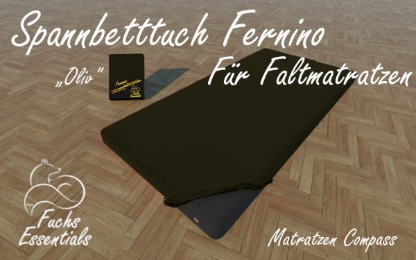 Spannbetttuch 100x190x14 Fernino oliv - besonders geeignet für Gaestematratzen