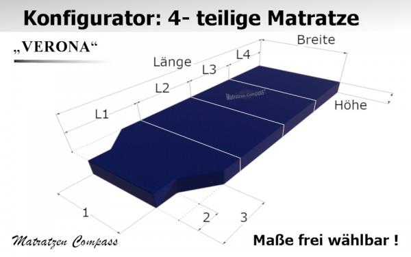 Verona 16 für T5 / T6 usw. - 4-teilige Schaumstoff - Faltmatratze