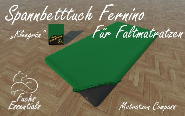 Spannbetttuch 100x190x6 Fernino kleegrün - extra für klappbare Matratzen