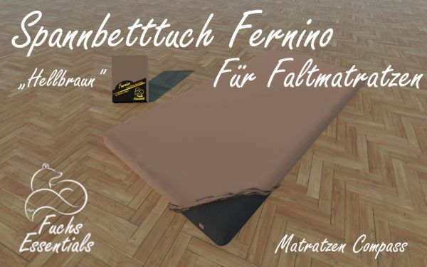 Spannlaken 110x190x11 Fernino hellbraun - insbesondere für Campingmatratzen