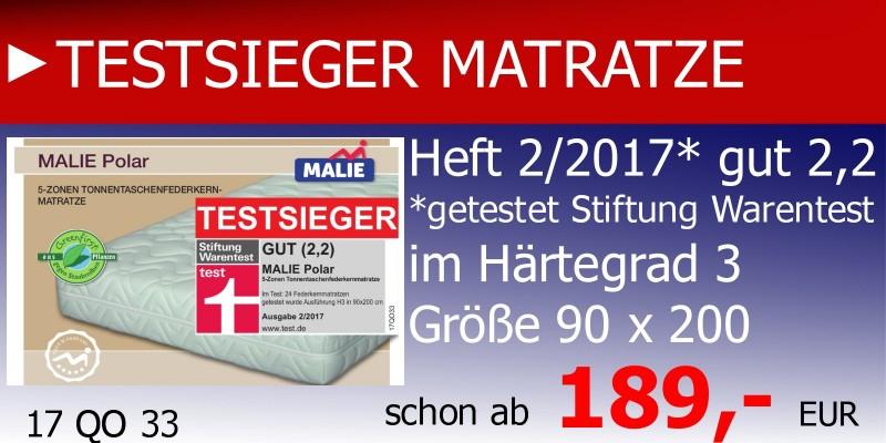 Testsieger Matratze, Malie Polar, getestete Matratze, Malie Matratzen