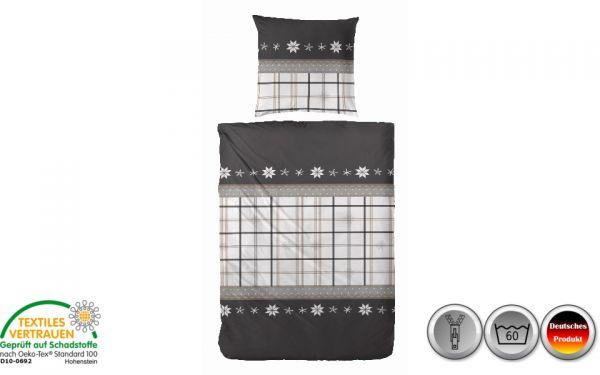 Edelflanell-Bettwäsche schwarz/weiß/grau gestreift (087)