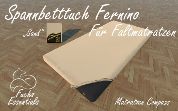 Bettlaken 100x190x8 Fernino sand - sehr gut geeignet für Faltmatratzen