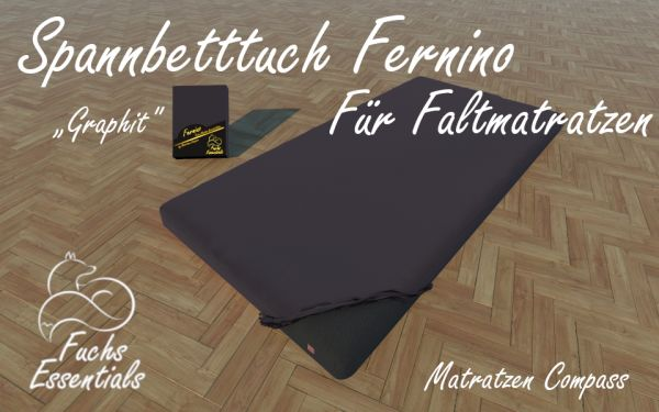 Spannbetttuch 100x190x11 Fernino graphit - insbesondere für Klappmatratzen