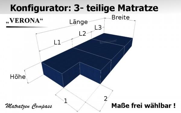 3 - teilige Schaumstoffmatratze Verona 5 mit Eckausschnitt als Sonderamfertigung