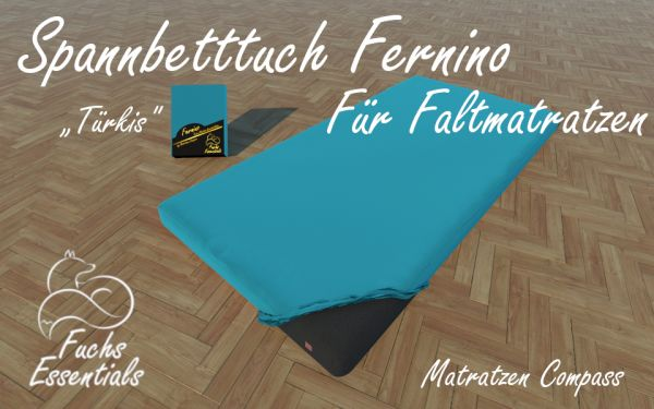 Bettlaken 100x190x11 Fernino türkis - speziell für faltbare Matratzen