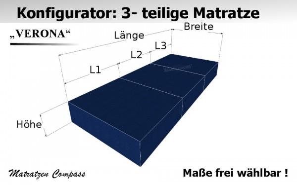 Verona 3 - 3-teilige faltbare Matratze aus Schaumstoff nach Wunsch