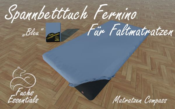 Spannbetttuch 110x200x8 Fernino bleu - besonders geeignet für faltbare Matratzen