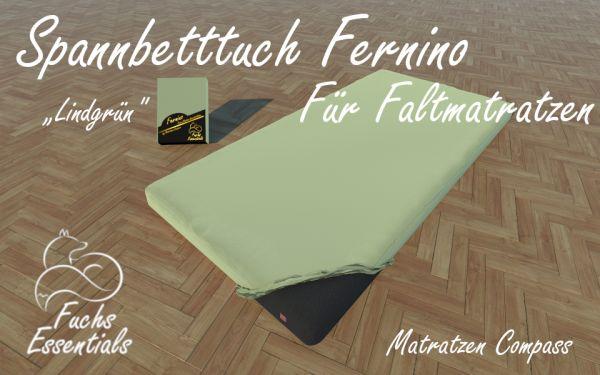 Bettlaken 100x190x14 Fernino lindgrün - besonders geeignet für faltbare Matratzen