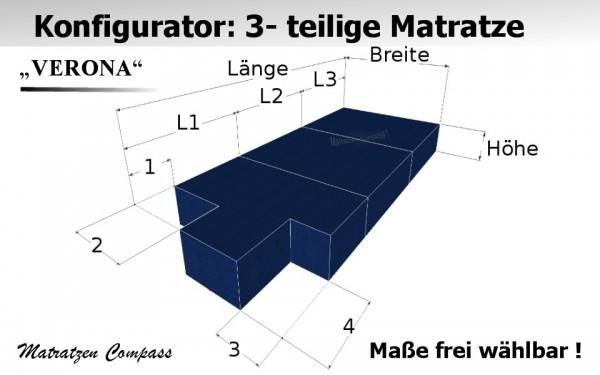 Verona 7 - 3-teilige faltbare Matratze nach Maß aus Schaumstoff