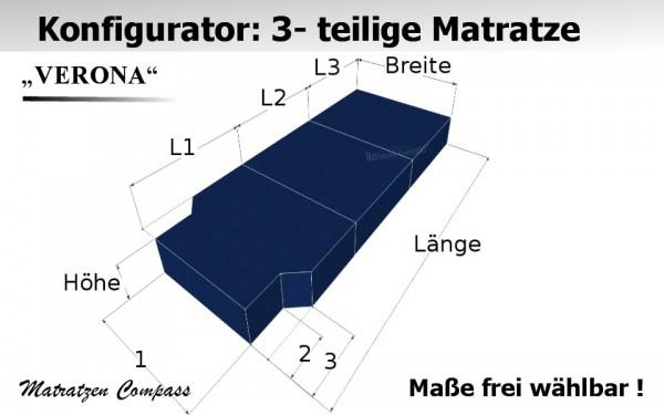 Verona 10 für T5 / T6 usw. - 3-teilige Schaumstoff - Faltmatratze