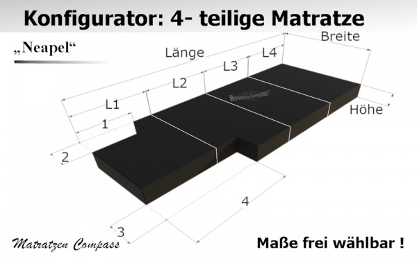 Faltbare Matratze nach Maß aus Komfortschaum 4 - teilig - Neapel 13