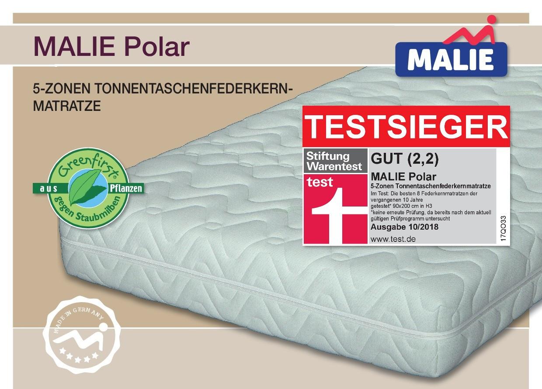 testsieger matratze malie polar der stiftung warentest beste matratze im test kategorie. Black Bedroom Furniture Sets. Home Design Ideas