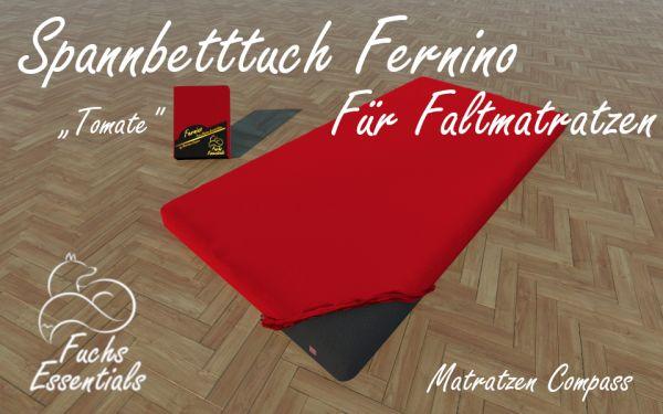 Spannbetttuch 100x180x14 Fernino tomate - insbesondere für Faltmatratzen