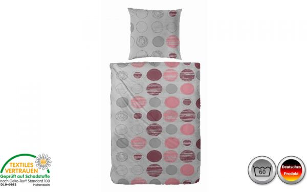 Feinbiber-Bettwäsche grau/rosa/rot kreisförmig (082)