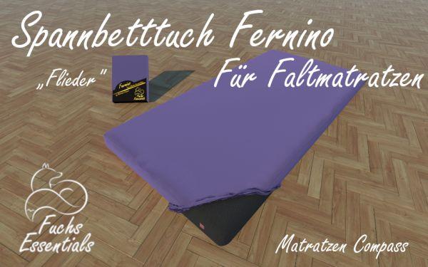 Spannbetttuch 110x200x6 Fernino flieder - besonders geeignet für faltbare Matratzen