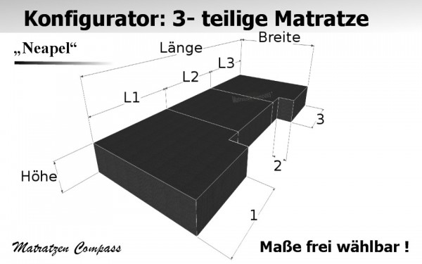 Komfortschaummatratze faltbar nach Maß 3 - teilig - Neapel 8