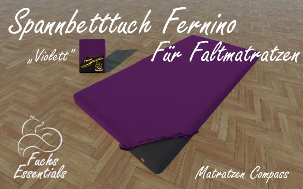Spannlaken 100x190x8 Fernino violett - extra für klappbare Matratzen