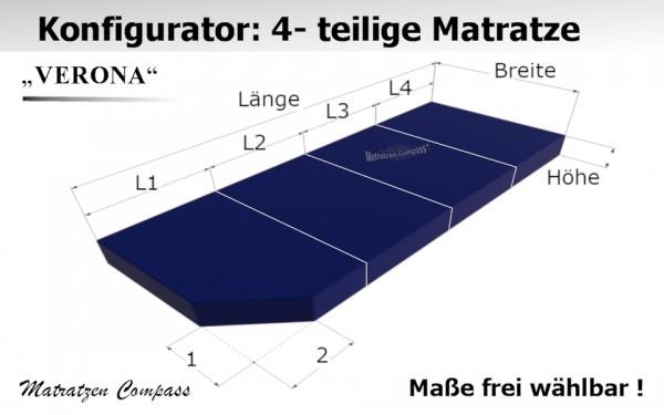 Verona 12 - Schaumstoff - Faltmatratze 4 - teilig nach Wunschmaß