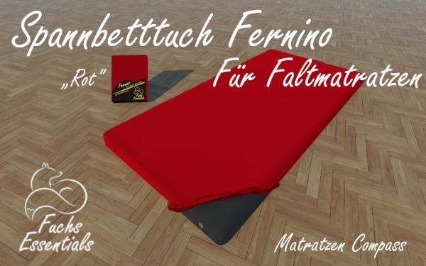 Spannlaken 100x180x14 Fernino rot - besonders geeignet für Koffermatratzen