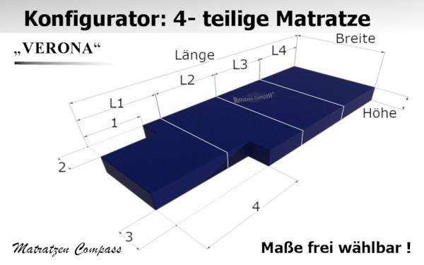 Verona 13 - 4-teilige faltbare Matratze nach Maß aus Schaumstoff