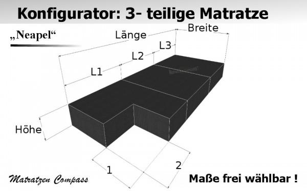 3 - teilige Komfortschaum - Matratze Neapel 5 mit Eckausschnitt zum selbst konfigurieren