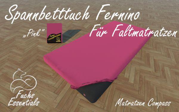 Spannbetttuch 100x200x14 Fernino pink - speziell entwickelt für faltbare Matratzen