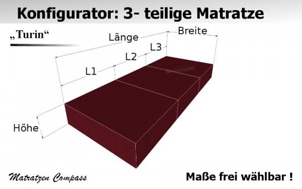 Faltbare Kaltschaummatratze nach Maß 3 - teilig - Turin 3