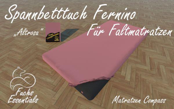 Spannbetttuch 110x200x8 Fernino altrosa - insbesondere geeignet für Klappmatratzen