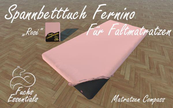Spannbetttuch 110x190x14 Fernino rose - besonders geeignet für faltbare Matratzen