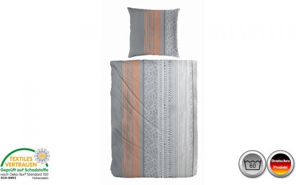 Biber-Bettwäsche grau/weiß/orange gestreift (082)