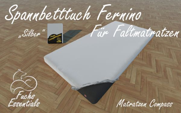 Spannlaken 100x180x6 Fernino silber - insbesondere geeignet für Koffermatratzen