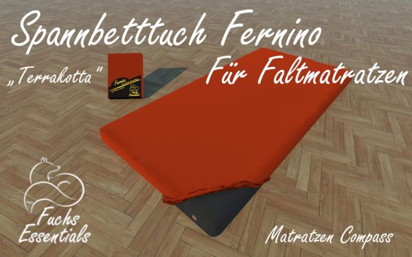 Bettlaken 110x200x11 Fernino terrakotta - insbesondere für Faltmatratzen