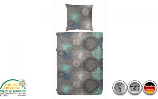 Edelflanell-Bettwäsche grau/blau/grün kreisförmig (075)