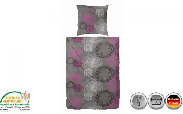 Edelflanell-Bettwäsche grau/weiß/rosa kreisförmig (072)